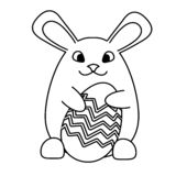 An Easter bunny rabbit with Easter egg vector illustration