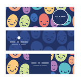 Vector funny faces horizontal banners set pattern Stock Photography