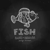 Vector funny fish. Parrot fish illustration. Chalkboard Style design element. Vector Chalkboard menu cover for seafood restaurant and snack bars with grunge Stock Images