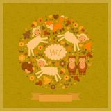 Vector funny green card with animals. Vector amusing card with lambs, fox, bears and hedgehog Royalty Free Stock Photography