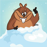 Vector funny groundhog. Cartoon a cute groundhog peeking out of its hole smiling and waving.  vector Royalty Free Stock Photography