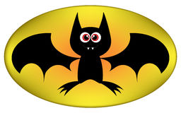 Vector Funny Halloween bat cartoon sign. Illustration isolated on white background Stock Images