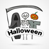Vector funny halloween sticker Stock Photo