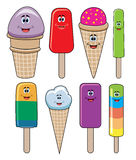 Vector funny icecream and popsicles. Vector set of funny icecream and popsicles Royalty Free Stock Photos