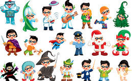 Vector funny illustration with a boy character in different postures Royalty Free Stock Images
