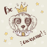 Vector funny illustration. Portrait of a dog with a crown and ch Stock Photo