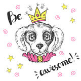 Vector funny illustration. Portrait of a dog with a crown and ch Stock Photography