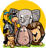 Vector funny illustration with wild animals from Africa Royalty Free Stock Photo