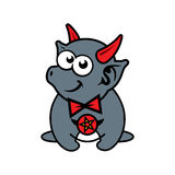 Vector funny little imp Cartoon Illustration. Demon with red horns.  on a white Background Royalty Free Stock Photo