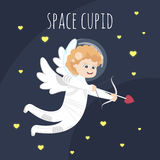 Vector funny little Valentine day cupid angel in space suit. Aiming at someone in open space Stock Images