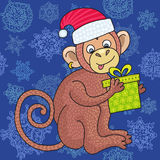 Vector funny monkey on the blue background of snowflakes, illustration happy monkey for children. Stock Photos