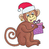 Vector funny monkey, illustration happy monkey for children. Postcard Happy New Year 2016. Stock Image