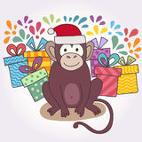 Vector funny monkey, illustration happy monkey for children. Postcard Happy New Year 2016. Royalty Free Stock Photos