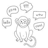 Vector Funny Monkey With Speech Bubble. Illustration card with hand drawn monkey and bubble speech. You can put your own text on speech bubble or sign board Stock Photos