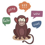 Vector Funny Monkey With Speech Bubble. Illustration card with hand drawn monkey and bubble speech. You can put your own text on speech bubble or sign board Royalty Free Stock Photos