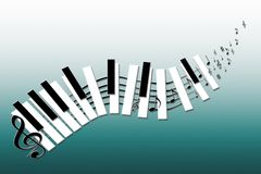 Vector funny music keybord. Vector music keyboard with keys, music notes and clef Stock Photo