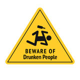 Vector funny road sign for bar or night club. Beware of drunken people. Yellow attention signs. Flat design. Royalty Free Stock Photo