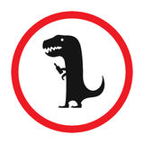 Vector funny road sign for bar or night club. Drunken dinosaur with bottle. Red attention signs. Flat design. Stock Image