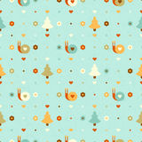 Vector funny seamless pattern with snails. And trees Royalty Free Stock Photos