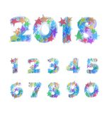Vector funny set of numbers with colorful stars. Stock Photos