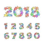 Vector funny set of numbers with transparent colorful stars. Stock Photos