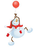 Vector funny snowman with balloon. Stock Photo