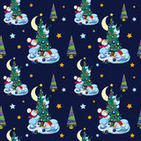 Vector Funny Snowman Decorating Christmas Trees Stock Photography