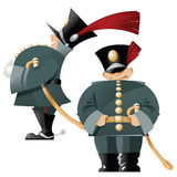 Vector funny soldiers in the old form. Stock Images