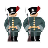Vector funny soldiers in the old form. Stock Image