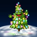 Vector christmas tree, xmas new year design. Vector funny spruce christmas tree character with arms, face smiling. Realistic green creature with christmas lights royalty free illustration