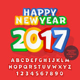 Vector funny sticker Happy New Year 2017 greeting card. With set of letters, symbols and numbers. File contains graphic styles Royalty Free Stock Photos