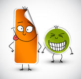 Vector funny stickers green and orange Royalty Free Stock Photo