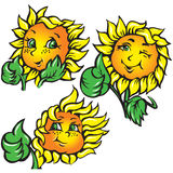 Vector funny sunflower shows ok Royalty Free Stock Photos