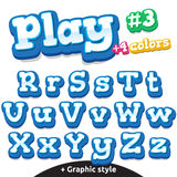 Vector funny video game letters set. Latin uppercase and lowercase Royalty Free Stock Photo