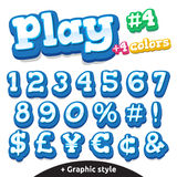 Vector funny video game letters set. Numbers and symbols. Vector funny children's video game font set in cartoon style of numbers and special symbols Royalty Free Stock Photo