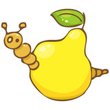 Vector. Funny worm in the pear Royalty Free Stock Photography