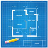 Vector  furniture architect blueprint background Royalty Free Stock Images