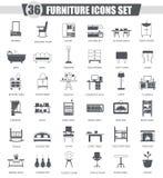 Vector Furniture black icon set. Dark grey classic icon design for web. Stock Photo