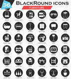 Vector Furniture circle white black icon set. Ultra modern icon design for web. Royalty Free Stock Image