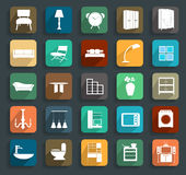 Vector furniture flat icons Royalty Free Stock Photos