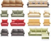 Vector furniture icon set. Sofas. Set of modern sofas icons Royalty Free Stock Photo