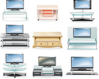 Vector furniture icon set. Tv Stands. Set of modern tv stands icons stock illustration