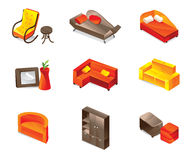 Vector furniture icons. Different furniture icons in bright colors Stock Images