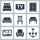 Vector furniture icons set Stock Photo