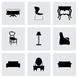 Vector furniture icons set Royalty Free Stock Photos