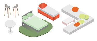 Vector furniture in Isometric. stock images
