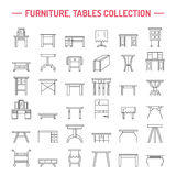 Vector furniture line icons, table symbols. silhouette of different table - dinner, writing, dressing table. Linear desk pictogram Stock Photos