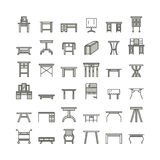 Vector furniture line icons, table symbols. silhouette of different table - dinner, writing, dressing table. Linear desk pictogram Stock Image