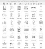 Vector Furniture ultra modern outline line icons for web and apps. Royalty Free Stock Images