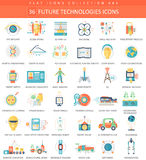 Vector Future technology color flat icon set. Elegant style design. Royalty Free Stock Image